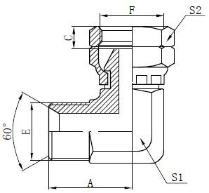 Desenho de conector de cotovelo BSP