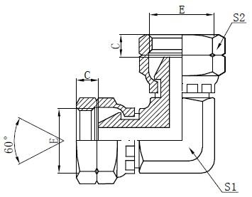 Desenho de adaptador de cotovelo fêmea BSP