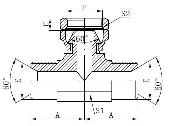 Desenho de Tee Hidráulico BSP
