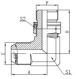 Desenho do Parafuso Ajustável com O-ring BSP