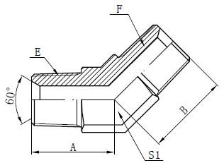 Desenho de conector macho BSPT
