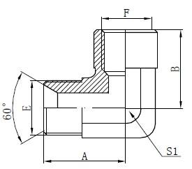 Elbow BSP Adapter Acessórios Desenho