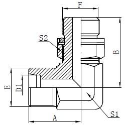 Desenho de adaptadores hidráulicos de cotovelo