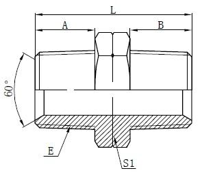 Desenho de Adaptadores NPT Hidráulicos Masculinos