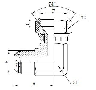 JIC Flat Face Connectors Drawing
