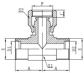Desenho métrico do T da mangueira fêmea