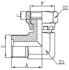 Desenho de acessórios de O-ring métrico masculino