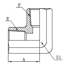 Desenho de adaptador de rosca fêmea NPT