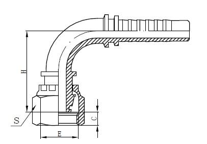 Desenho de montagem de mangueira de uma peça