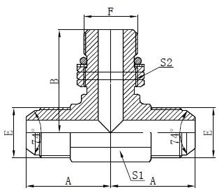 Desenho do adaptador de ressalto do anel de vedação SAE